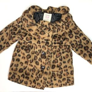 NWOT OLD NAVY Leopard Button Up Ruffle Wool Coat